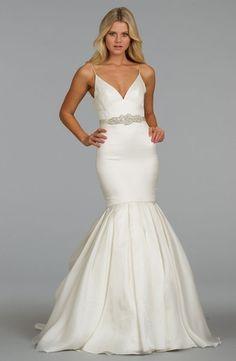 Bridal Gowns: Alvina Valenta Mermaid Wedding Dress with V-Neck Neckline and Dropped Waist Waistline