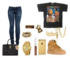 """""""How do U want it"""" by imanifashions ❤ liked on Polyvore featuring Nike air force, Michael Kors, Yves Saint Laurent, INC International Concepts, Moschino and Goldgenie"""