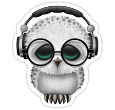 Baby Owl Dj with Headphones and Glasses Sticker by Jeff Bartels