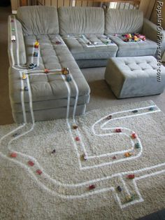 So easy and cheap! Masking tape and cars or animals keep the kids happy for hours #original
