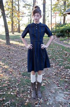 Cute Vintage 1950s Navy and Olive Striped Day Dress by Junior Vogues - Perfect for Fall. 32.99, via Etsy.