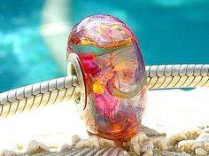PINK GLITTERIZE OPAL Fully Lined Sterling Silver by beachlifebeads, $26.00