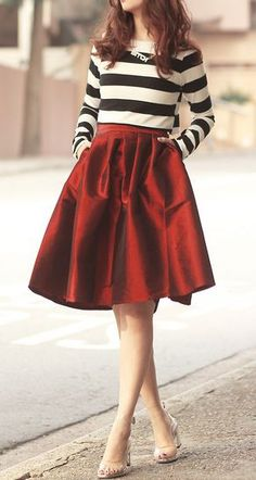 Deep red skirt - holiday outfit ideas