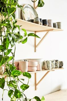 A simple wall plywood shelves display these beautiful hand crafted ceramics collection by James Lemon. Thrift Store Furniture, Refurbished Furniture, Repurposed Furniture, Shabby Chic Furniture, Rustic Furniture, Furniture Design, Kids Bedroom Furniture, Space Saving Furniture, Fine Furniture