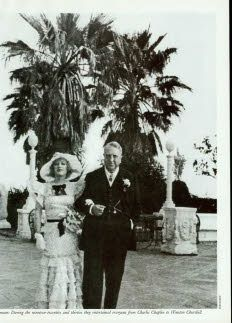 Black and white photograph of William Randolph Hearst and Marion Davies at San Simeon. Description from newyorker.com. I searched for this on bing.com/images