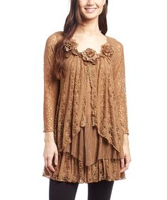 Another great find on #zulily! Brown Lace Silk-Blend Layered Tunic #zulilyfinds