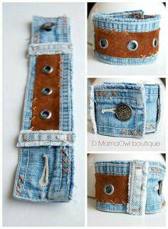 Upcycled Denim and Brown Leather Cuff Bracelet por DMamaOwlBoutique Bracelet Denim, Fabric Bracelets, Fabric Jewelry, Jean Crafts, Denim Crafts, Leather Cuffs, Leather Jewelry, Brown Leather, Leather Bracelets