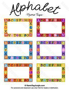 Name Tag Template Free Printable Luxury Free Printable Alphabet Name Tags the Template Can Also – Tate Publishing News Kindergarten Name Tags, Preschool Name Tags, Classroom Name Tags, Classroom Labels, Kids Name Tags, Alphabet Tag, Alphabet Names, Printable Alphabet, Name Tag Templates