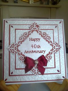 Ruby wedding card Hand Made Greeting Cards, Making Greeting Cards, Card Making Inspiration, Making Ideas, Ruby Wedding Anniversary, Golden Anniversary, Anniversary Ideas, Wedding Cards Handmade, Handmade Cards