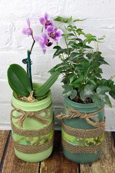 St. Patricks Day green DIY mason jar planters with burlap