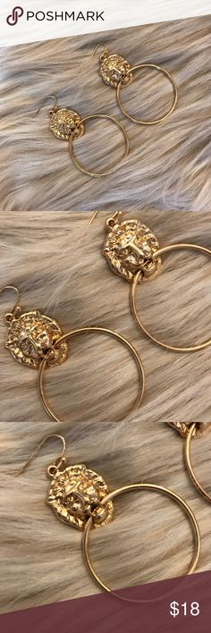 76410b865 🌹HP🌹 Gold Lion Hoop Earrings These super cute lion earrings are a HUGE  trend for fall. Make a statement with this adorable trend!