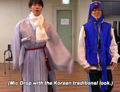 Mic drop with hanbok #jin