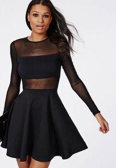 MissGuided Mesh Insert Long Sleeve Skater Dress Black | #Chic Only #Glamour Always