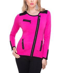 Love this Fuchsia & Black Asymmetric Zip-Up Jacket on #zulily! #zulilyfinds