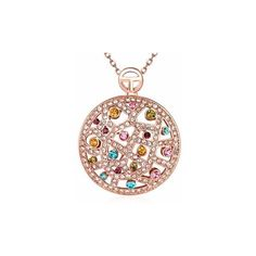 Bohemian Luxury Necklace Hollow Circle Rhinestone Necklace for Women... ($10) ❤ liked on Polyvore featuring jewelry, necklaces, rose gold, rhinestone pendant, rhinestone jewelry, bohemian necklaces, circle pendant and rhinestone chain necklace