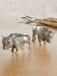 Pendleton Woolen Mills: PEWTER BISON SALT AND PEPPER SHAKERS