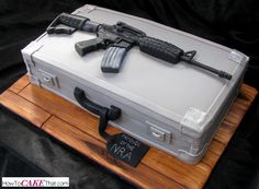 Rifle And Gun Case Cake   The Rifle Is Sculpted Out Of Fondant, The Cake  Board Is Covered In Fondant And Painted To Look Like Wood, And The Gun Case  Is Cake ...