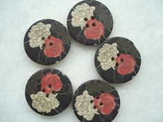 30mm Wood Button Black wood Buttons Pack of 5 by berrynicecrafts