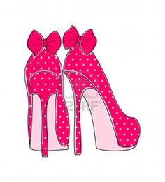 Illustration of pink polka dot high heels with a bow  Stock Photo