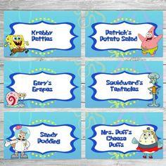 Spongebob Food Labels Spongebob Birthday by VeronicaVaselinArts