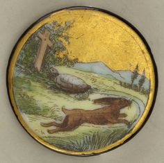 Fabulous porcelain button depicting the tortoise and the hare. Cooper Hewitt Collection.