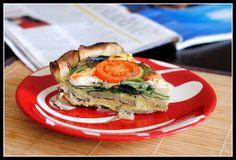 healthy quiche with goat cheese, spinach, tomato...potato crust
