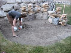 DIY Firepit Flagstone Patio - The cost is relatively minimal if you take the time to find a good deal on flagstone. Outdoor Spaces, Outdoor Living, Outdoor Decor, Outdoor Life, Outdoor Ideas, Backyard Projects, Outdoor Projects, Diy Fire Pit, Fire Pits