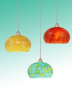 Blown glass pendant lighting for kitchen island