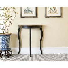 @Overstock - Add a sophisticated touch to your home decor with this Ava Demilune console table   Furniture piece features a French half round construction  End table is finished with a black distressed finishhttp://www.overstock.com/Home-Garden/Ava-Demilune-Console-Table/4378577/product.html?CID=214117 $87.99