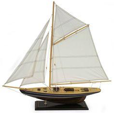 Navy Blue Model Display Sailboat