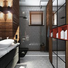 I like the shower and floor tile in opposites. lois new hous Home Design Plans, Home Interior Design, Bungalow Porch, Modern Decor, Modern Design, House Design Drawing, Ranch, Dream Bath, Cozy Living Rooms