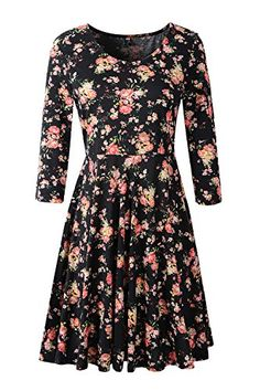 d2825b60cc3b Jc.kube Womens 3/4 Sleeve Floral Skater Swing Casual Dress at Amazon  Women's Clothing store: