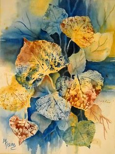 Watercolor leaves - artist used real leaves as stamps - with multiple colors - then followed up with positive and negative painting to refine the shapes and complete the composition - beautiful!