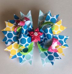 Colorful Stacked Hair Bow by AdrianneyDesigns on Etsy