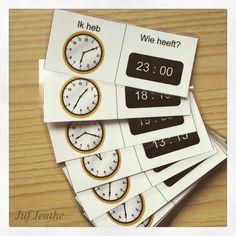 Ideaal om de analoge en digitale klok in te oefenen: Ik heb ... Wie heeft?