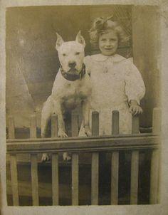 A girl and her pit bull (nanny dog) Pitbull Pictures, Dog Pictures, Animal Pictures, Dogs And Kids, Animals For Kids, Animals And Pets, Nanny Dog, Vintage Dog, Vintage Children