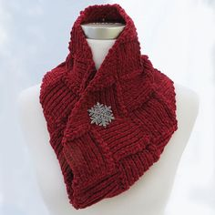 Hand knit infinity scarf in red by ThisSeamsGood on Etsy