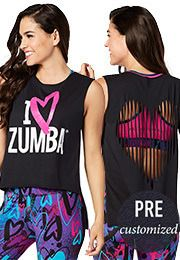 "Fitness Leggings, Pants, Tank Tops, Shoes | Zumba Clothing | Zumba Fitness l I ""Heart"" Zumba Love Slashed Tee l #zumba"