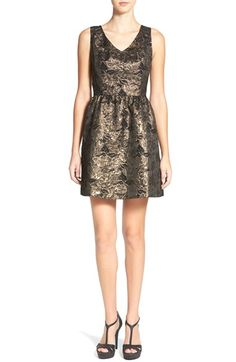 Frenchi Metallic Jacquard Fit & Flare Dress available at #Nordstrom