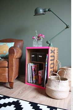 want a cognac leather chair like this. also like the crate and baskets.
