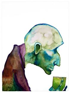 This is my favorite Manson painting.   Title: When I get old   Watercolor & absinthe   By: Marilyn Manson