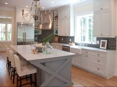 I really like white cabinets with gray counters! The blue island isn't bad either!