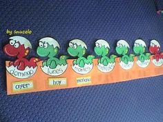 "En este aula de infantil han decidido utilizar este método para reforzar conceptos matemáticos como ""antes - ahora - después"" Dinosaur Classroom, Classroom Birthday, Birthday Board, Classroom Decor, Diy Projects For Kids, Diy For Kids, Dinosaur Projects, 2 Kind, Teacher Binder"