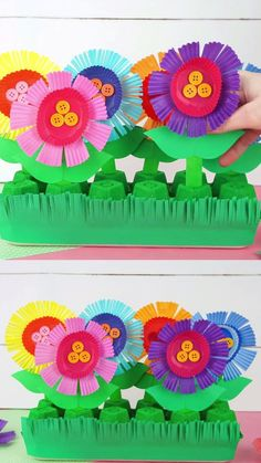 Fun Flower Garden Craft for Kids - - Repurpose an egg carton and cupcake liners to create this colorful flower garden craft. Kids will have so much fun planting each flower in their garden. Flower Crafts Kids, Garden Crafts For Kids, Spring Crafts For Kids, Garden Projects, Projects For Kids, Summer Crafts, Art For Kids, Craft Projects, Craft Kids