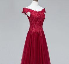 Burgundy Off Shoulder Long Prom Dress,Sexy 2017 Long Evening Gowns,A-Line Women Dress