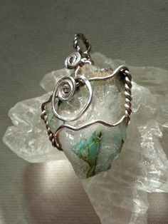 Messina Ajoite Quartz Pendant in Hammered by HeartSongHealings
