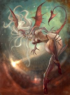 A Succubus, with more demonic features than the usually seen. Done for Warsong Chronicles, (c) Feytouched Studios. feytouchedstudios.com/ Art director: Richard Jiang. Also if you like it you can ch...