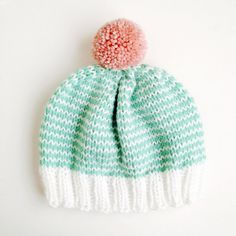 The StripeAThon Hat in Mint Bubblegum Pink by helloquiettiger, $34.00