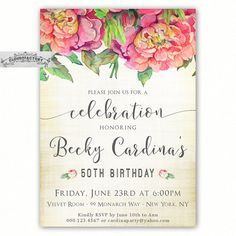 50th Birthday Invitations for a Woman Adult by Cloud9Factory