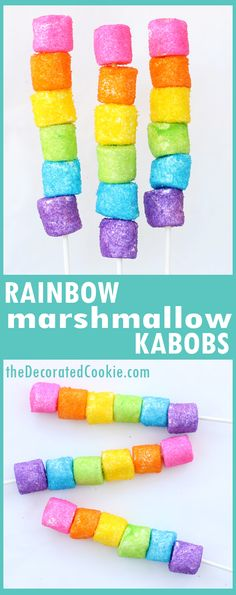 How to make rainbow marshmallow kabobs, sprinkle-coated marshmallows sparkling on lollipop sticks. Great unicorn food for a rainbow party. Trolls Party, Trolls Birthday Party, Rainbow Birthday Party, Unicorn Birthday Parties, Birthday Party Themes, 5th Birthday, Fruit Birthday, Birthday Party Food For Kids, Party Themes For Kids